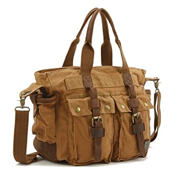 Kattee Canvas + Leather Casual Cross Body Messenger Bag