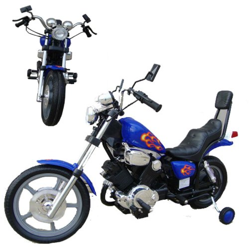 Wonders Shop Usa Electric Ride On Toys Motorcycle Power Wheels For Children 2 To 7 Years Old Or Up To 90 Pounds - Blue Color Harley