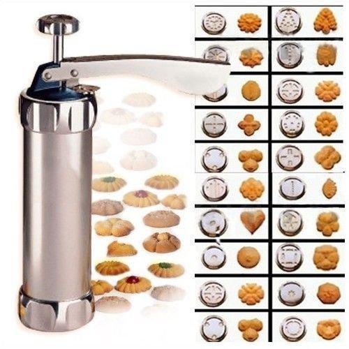 Agile-shop Practical Biscuit Cookie Making Maker Pump Press Machine Cake Decor + 20 Moulds 4 Nozzles