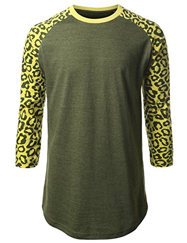 Urbancrews Mens Hipster Hip Hop Cheetah Print 3/4 Sleeve Shirt Hgryolive Xxlarge