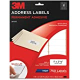 3M Permanent Adhesive Address Labels, 1 x 2.62 Inches, Inkjet, White, 750 per Pack (3200-A)