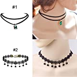 Prohouse 8 Pieces Womens Black Velvet Choker Necklace for Women Girls Lace Choker Gothic Tattoo Necklaces