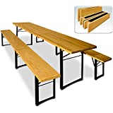 Wooden Trestle Table and Bench Set Folding Outdoor Dining Furniture Set