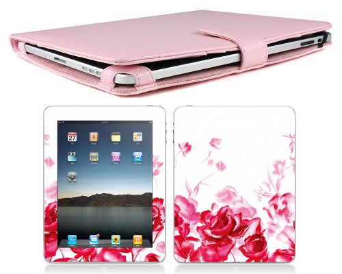 Bundle Monster Apple Ipad Genuine Leather Case Cover Jacket + Skin Sticker + Screen Protector Accessories Combo Fit 3G or Wifi