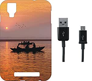 BKDT Marketing Printed back Cover for Panasonic Eluga A2 with Charging Cable