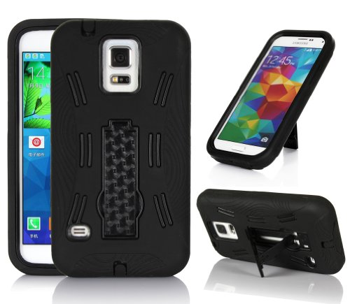 Gearit Samsung Galaxy S5 / Sv Case Heavy Duty [Impact Hybrid] Rugged Armor Skin Cover Stand For Galaxy S5, Black