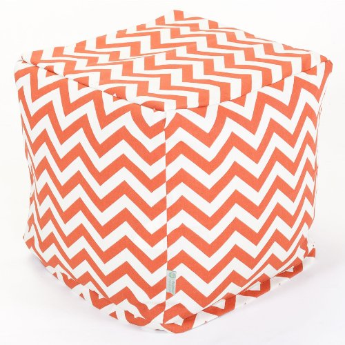 Majestic Home Goods Burnt Orange Zig Zag Cube, Small