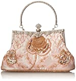 MG Collection Ginny Exquisite Antique Seed Beaded Rose Evening Bag