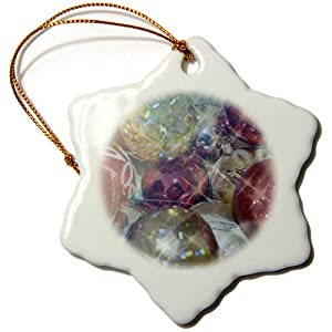 3dRose orn_40248_1 Sparkle Christmas Ornaments Holiday Photography Snowflake Porcelain Ornament, 3-Inch