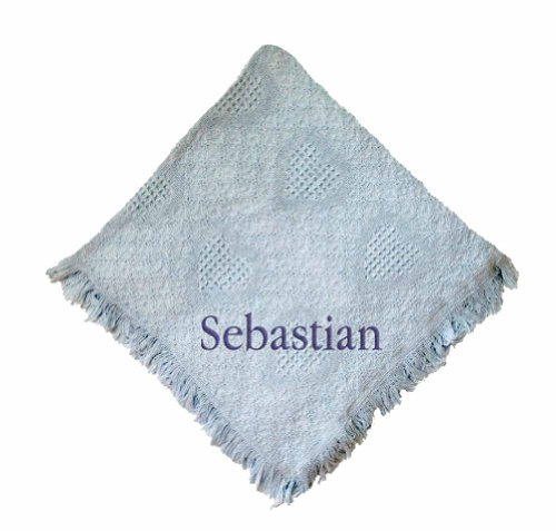 Custom Embroidered Monogrammed Boy Blue Cotton Woven Personalized Baby Blanket Green Thread front-966752