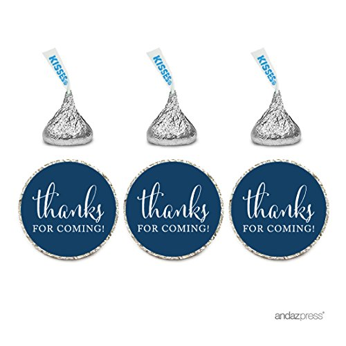 Andaz Press Chocolate Drop Labels Stickers, Thanks for Coming!, Navy Blue, 216-Pack, For Wedding Birthday Party Baby Bridal Shower Hershey's Kisses Party Favors Decor Envelope Seals (Bridal Shower Seals compare prices)