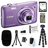 Nikon COOLPIX S3500 20.1MP Digital Camera with 7x Optical Zoom and 2.7-inch LCD in Purple + 16GB SDHC + Replacement EN-EL19 Battery + Focus Multi Memory Card Reader + Camera Case + Accessory Kit