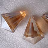 10pcs/lot 30mm Golden Peach Color Crystal Diamond Drop Ornament Crystal Glass Drop Prism Crystal Chandelier Hanging...