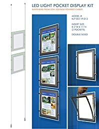 Suspended LED Light Pocket for Real Estate Window Displays - Cable Suspended Poster Display Kit with 2 (two) LED Light Pockets - Double Sided (Insert Size 8.5\