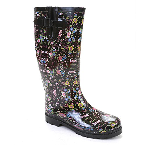 Twisted Women's DRIZZY Rubber Floral Print Rain Boot- MULTI, Size 6
