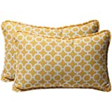 Pillow Perfect Decorative Yellow/White Geometric Rectangle Toss Pillows, 2-Pack