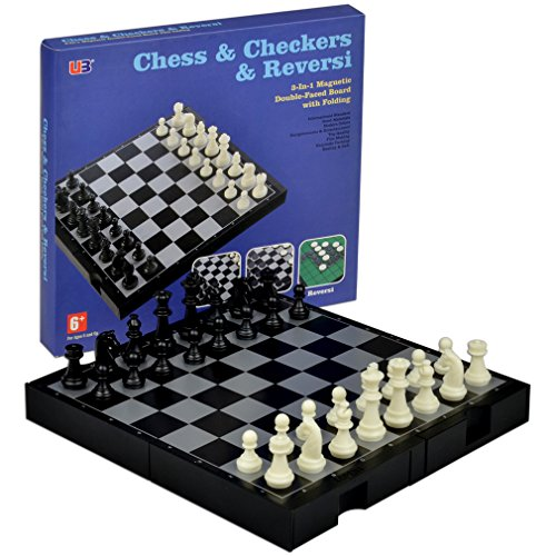 3 In 1 Travel Magnetic Chess Checkers And Reversi Set 9