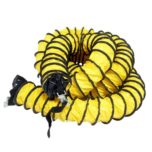 "Rubber-Cal 845605000000  ""Air Ventilator Yellow"" Ventilation Duct Hose (Fully Stretched), 4-Inch by 25-Feet"