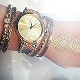Beach-Style-Damenuhr-Geflochten-Armband-Farbe-Blau-Pink-Gold-Armbanduhr-Blogger-Trenduhr-Uhr-Damen-Hippie-Boho-Festival-Boho-Anker-Weltkarte-Feder-Freundschaftsarmband-Dalas-Mingbo-Bijou-V6