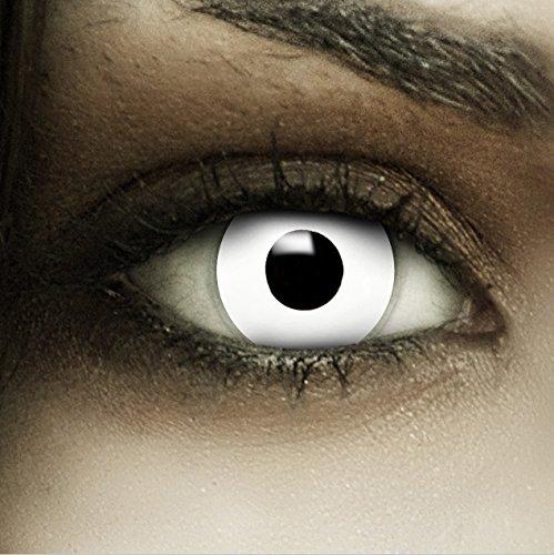 """Lenti a contatto colorate """"Zombie"""" + capsule di sangue finto + portalenti per FXCONTACTS bianche, morbide, non corrette, in confezione da due: comode da indossare e ideali per Halloween o Carnevale"""