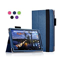 Dell Venue 8 7000 / 7840 Case - Exact [Pro Series] PU Leather Folio Case for New Dell Venue 8 7000 Series (7840) 8.4-inch Touchscreen Tablet Navy Blue