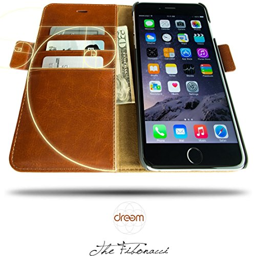 Dreem iPhone 6/6s Plus Case with Detachable Wallet Folio, 2 Kickstands, Gift Box, Premium Vegan Leather, Fibonacci Series, Brown