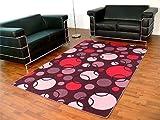 Teppich Modern Retro Snapstyle Lila Kreise in 22 Größen, Größe:200×200 cm