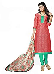 Ethnic For You Chanderi Unstitched Salwar Suit Dress Materials(Gajari,Red)
