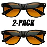 Blue Blocking Driving Wayfarers Sunglasses Amber Tinted Lens (With Free Microfiber Pouch)