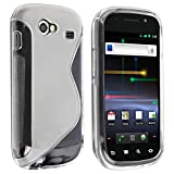 eForCity TPU Rubber Skin Case Compatible with Samsung© Google Nexus S, Frost Clear White S Shape