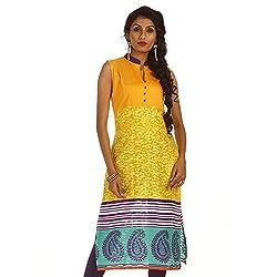Amithi Women's Colour-Block Jacquard Kurta - M