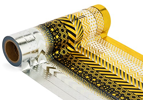 decorative-craft-masking-washi-tape-set-of-12-rolls-gold-black-and-silver-japanese-paper-tape-by-uni