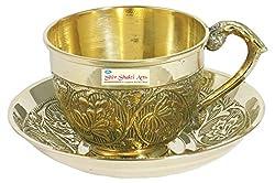 SHIV SHAKTI ARTS Handmade Brass Tea Cup AND Saucer sets Capacity=150 ml
