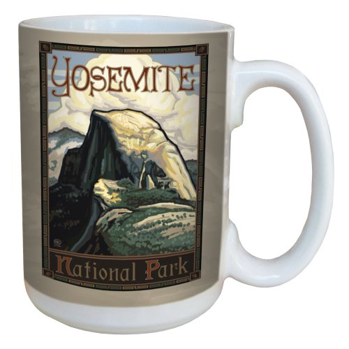 TreeFree Greetings 79476 Yosemite National Park Half Dome by Paul A. Lanquist Ceramic Mug with Full-Sized Handle, 15-Ounce, Multicolored (Half Full Mug compare prices)