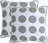 16 X 16 Inch Set of 2 Throw Pillow Covers for Couch Grey Bold Polka Dot Printed on White Base Canvas Cushion Cases for Sofa with Matching Piping Border Made of 100% Cotton Fabric Bed Pillows (Grey)