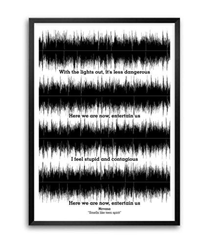 "Lab n. 4Nirvana ""Smells Like Teen Spirit"" Lyrics Citazioni Poster con cornice A3(41,9x 29,7cm)"