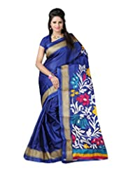 Kajal Sarees Women's Art Silk Self Print Saree (PS_122, Blue)