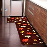 Ustide 2 Piece Maple Leaf Kitchen Rug Set Kitchen Memory Foam Rug Soft Rug Coral Fleece Door