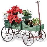 Amish Wagon Decorative Garden Planter, Green