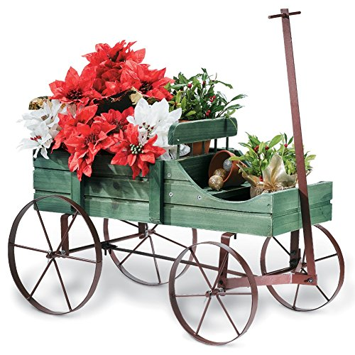 Amish Wagon Decorative Garden Planter, Green (Garden Decorations Outdoor compare prices)