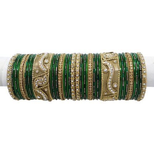 Indian Party Wear Gold Tone Green CZ Bangle Bracelet Set Costume Ethnic Jewellery Gift SIZE 2*6
