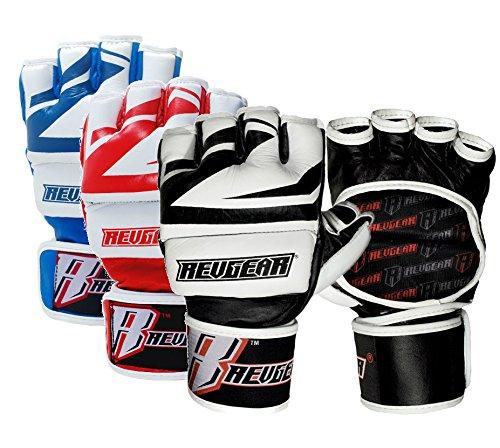 """Revgear MMA Handschuhe """"Deluxe Pro"""" - MMA Fight Grappling BJJ Leder Handschuhe"""