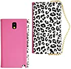 myLife Jungle Black and White Leopard Print + Frosted Tulip Pink {Glamorous Design} Faux Leather (Card, Cash and ID Holder + Magnetic Closing) Slim Wallet for Galaxy Note 3 Smartphone by Samsung (External Textured Synthetic Leather with Magnetic Clip + Internal Secure Snap In Closure Hard Rubberized Bumper Holder)