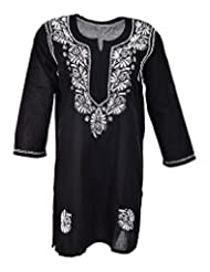 Naurati Exports Women's Cotton Straight Kurta (nau#13, Black, XX-Large)