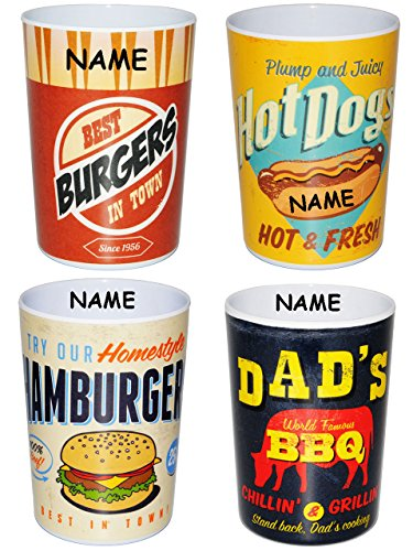 2-Stck--3-in-1-Trinkbecher-Zahnputzbecher-Malbecher-Becher-Retro-Essen-Burger-incl-Name-350-ml-Trinkglas-aus-Kunststoff-Plastik-Melamin-fr-Erwachsene-Kinder-Dekor-Grill-buntes-retro-Design-Campingbech