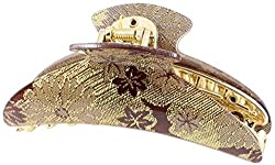 Uxcell Tinsel Decor Hair Claw Clip Clamping, Gold Tone/Purple/Brown, 0.09 Pound