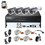 KAREye 4CH 1080N AHD DVR Home Security Video Surveillance Camera System (NO HDD), W/ 4x 1.0MP Indoor/Outdoor Waterproof Cameras, 65 Feet Night Vision, Smart Motion Detection