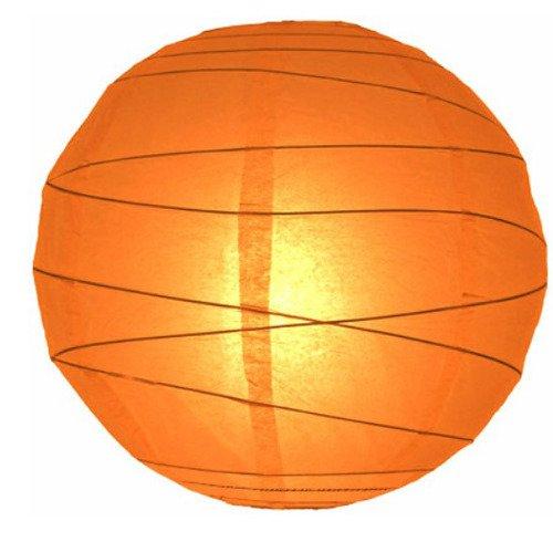 "WeGlow International 12"" Orange Free-Style Ribbed Paper Lantern (Set of 2)"