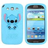 SilverCon - Blue 3D Back Disney Stitch & Lilo Style Silicone Soft Case Cover for Samsung Galaxy Siii S3 I9300 with FREE SilverCon Universal Cable Tie
