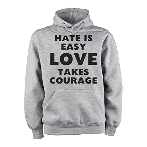 Hate Is Easy Love Is Courage True Words Graphic Art Design Majestic Medium Unisex Hoodie